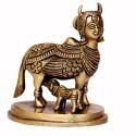 Kamadhenu and Calf Brass Idol