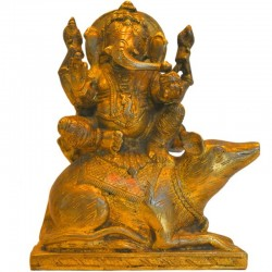 Ganesha sitting on Mouse Brass Statue