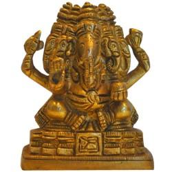 5 Headed Ganesha Sitting On Peeta Brass Idol