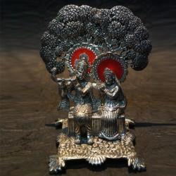 Radha Krishna sitting uder tree aluminium idol