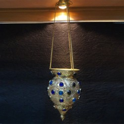 Brass Hanging lamp with Blue Studs