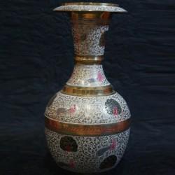 Beautiful Birds crafted on Brass Flower Vase