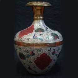 Brass Flower vase jar with crafting on top