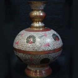 Flower vase with peacock painting Brass