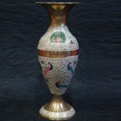 Brass Flower vase with Blue peacock Painted