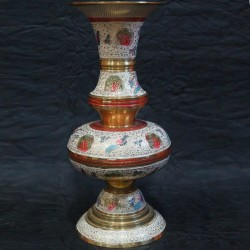 Brass Moulded Flower Vase with Design
