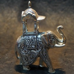Elephant with Ambari aluminium idol