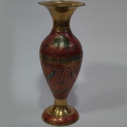 Red painted brass coated flower vase