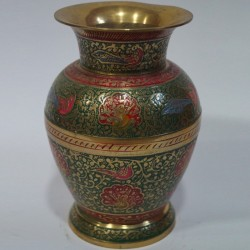 Green painted brass flower vase