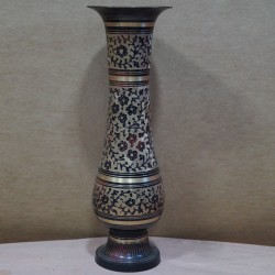 Black flower design brass flower vase