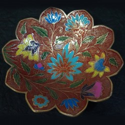 Flower shaped brass fruit bowl and crafted inside