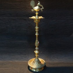 Kerala brass deepa with peacock