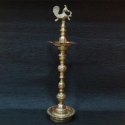 Peacock designed brass deepa