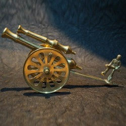 Beautiful Brass Cannon with a man