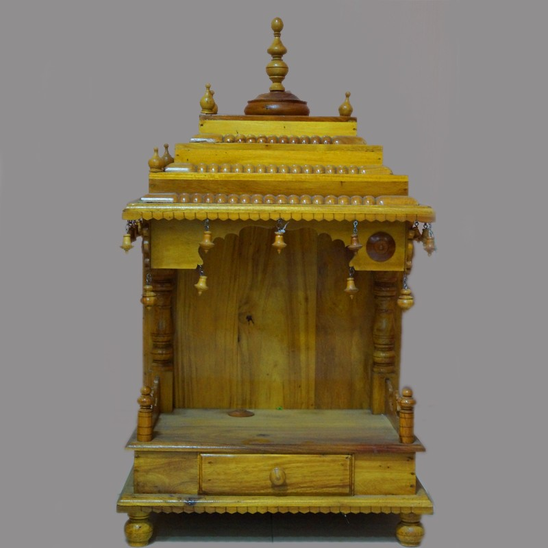 Designed wooden puja mantap with drawer
