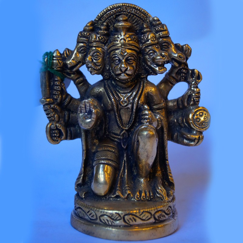 Five face hanuman brass statue