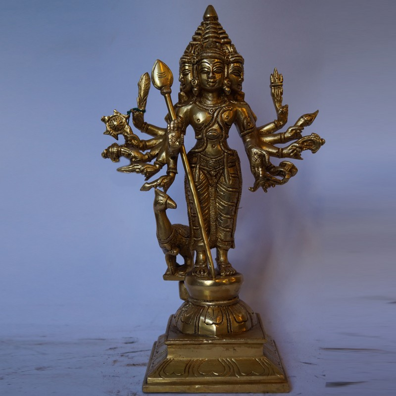 Lord Subramanya with mutli hands brass idol