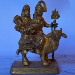 Shiva Parvathi carrying Ganesha on Nandi brass idol