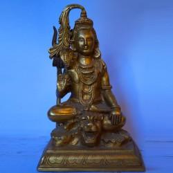 Lord shiva meditating brass idol
