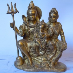 Lord Shiva Parvathi and Ganesha brass statue