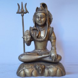 Lord shiva blessing polished brass idol