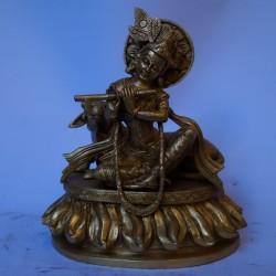 Lord Krishna playing flute brass idol