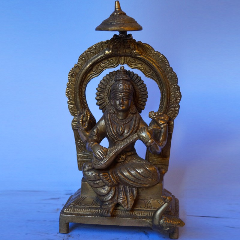 Indian Goddess Saraswati brass statue
