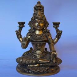 Lakshmi Devi blessing brass statue