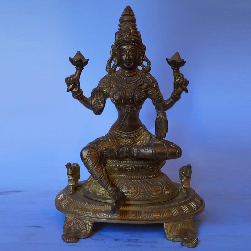 Antique finish brass Lakshmi Devi statue