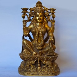 Lakshmi statue with elephants brass idol