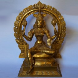 Beautiful Brass made Lakshmi idol with peeta prabhavali