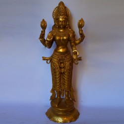 Beautiful Goddess Lakshmi standing brass statue
