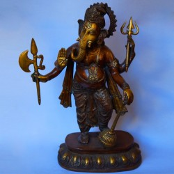 Lord Ganesha blessing brass idol antique finished