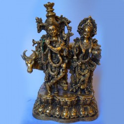 Radha Krishna blessing antique brass idol