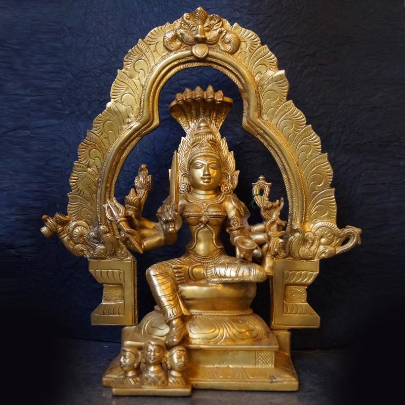 Adi parashakti brass idol with peeta prabhavali
