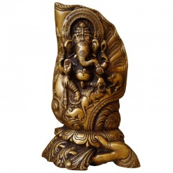 Beautifull Lord Ganesha holding on hand brass statue