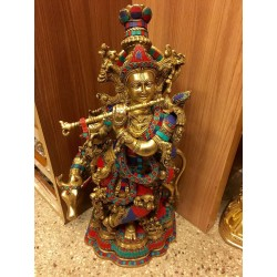 24 inches Coral Krishna with Cow