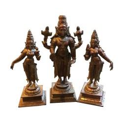 Copper 6 inches Balaji with Sridevi and Bhoo Devi