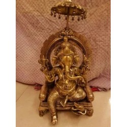 Elegant Darbar Ganesha brass statue fine finish