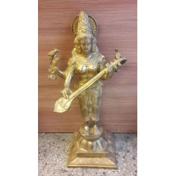 24 inches height Goddess Saraswathi standing brass statue