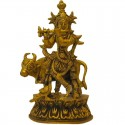 Lord Gopal Krishna with Cow & Peacock Brass statue