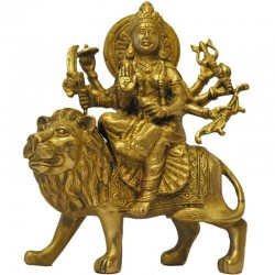 Chamundeshwari Sitting on Lion Brass Idol