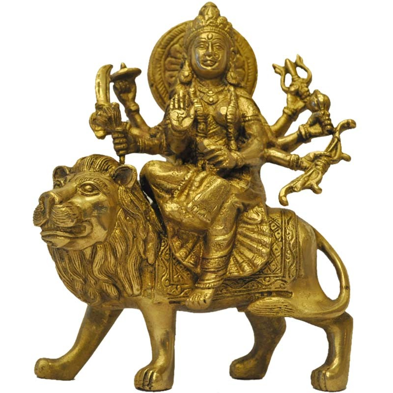 Chamundeshwari sitting on lion brass idol all goddess