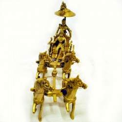 Brass Idol of Krishna Arjun Ratha with Four Horse