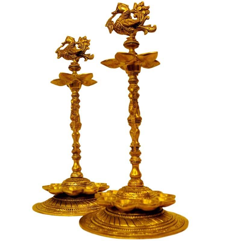 Peacock Brass Lamp   2 Pieces