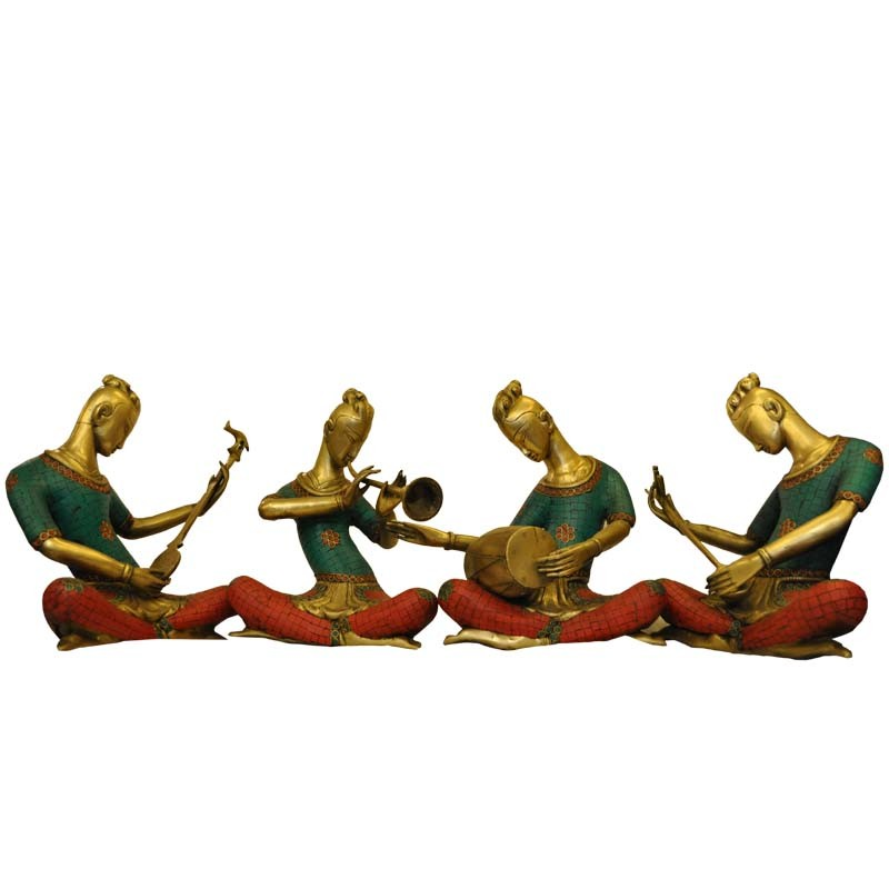 Musicians With Coral Stone Work Brass Idol