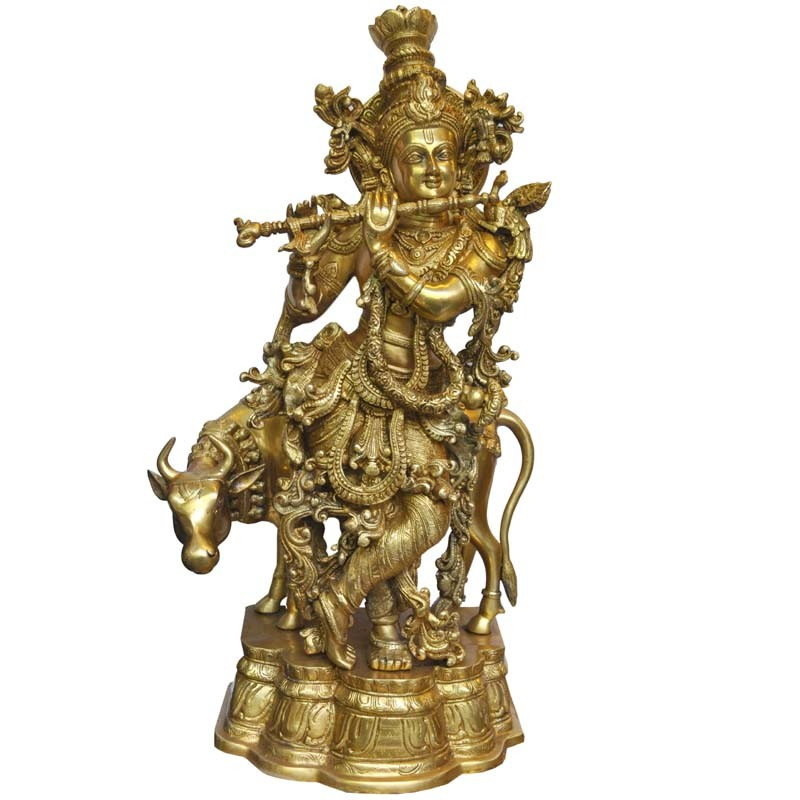 Krishna with Cow Brass Idol