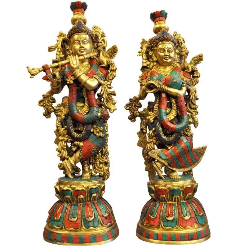 Radha Krishna Coral Brass Idol