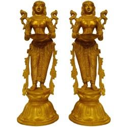 Standing Lady Deep Brass Statue