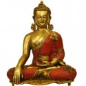 Buddha Coral Stone Work Brass Statue